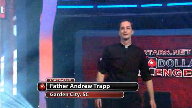 священник Эндрю Трапп на Million Dollar Challenge от PokerStars