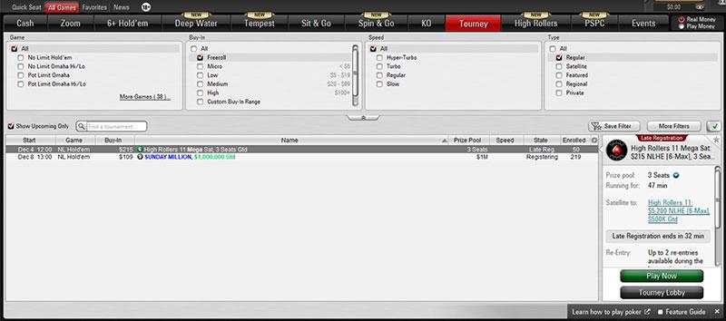 выбор фриролла в лобби PokerStars